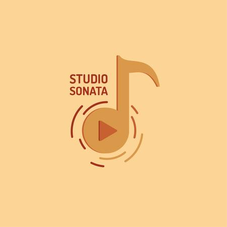 Music Studio Ad with Note Symbol Logo Design Template