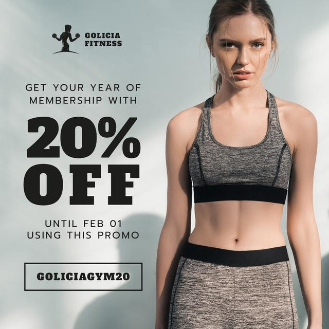Gym Membership Offer with Athletic girl Instagramデザインテンプレート