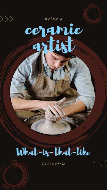 Modèle de visuel Hands of potter creating bowl - Instagram Story