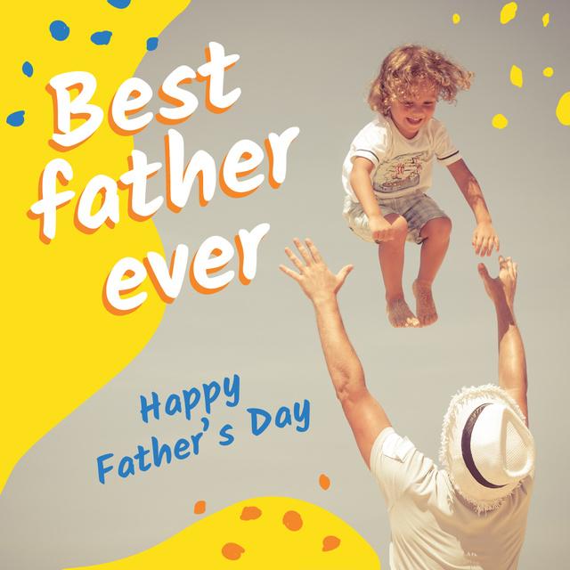 Father playing with kid on Father's Day Instagram Tasarım Şablonu