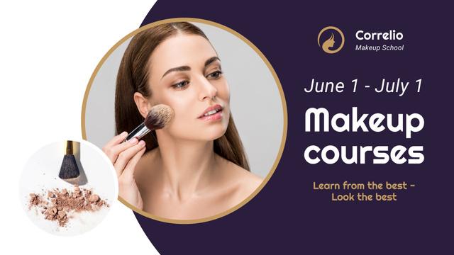 Makeup Courses Annoucement with Woman applying makeup FB event cover Modelo de Design