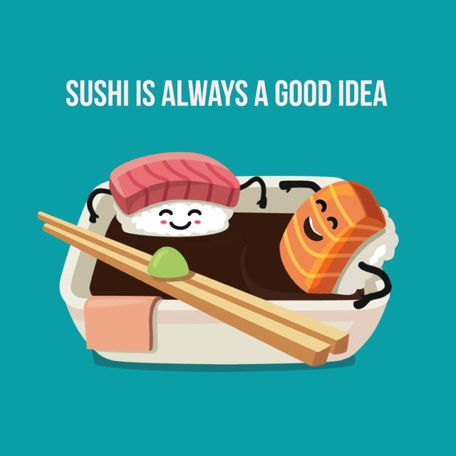 Plantilla de diseño de Sushi bathing in soy sauce Animated Post