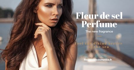 Plantilla de diseño de New perfume Ad with beautiful young woman Facebook AD