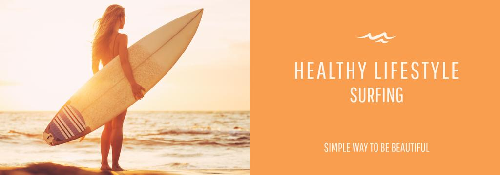 Summer Vacation Offer Woman with Surfboard | Tumblr Banner Template — Modelo de projeto