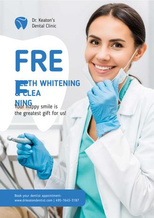 Designvorlage Dentistry Promotion with Dentist Wearing Mask für Poster