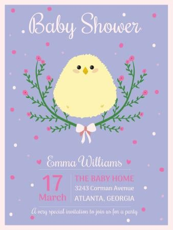 Baby shower invitation with cute chick Poster USデザインテンプレート