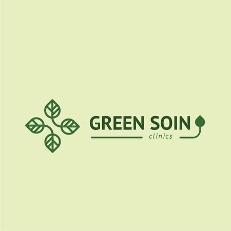 Clinic Promotion with Medical Cross with Leaves Logo Tasarım Şablonu