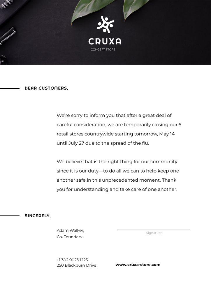 Information about temporarily Stores Closing — ein Design erstellen