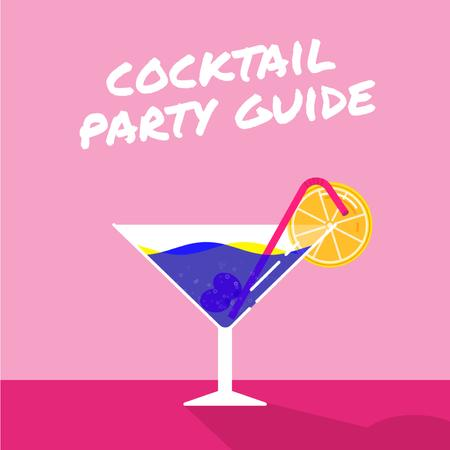 Template di design Drink in Martini Glass in Pink Animated Post