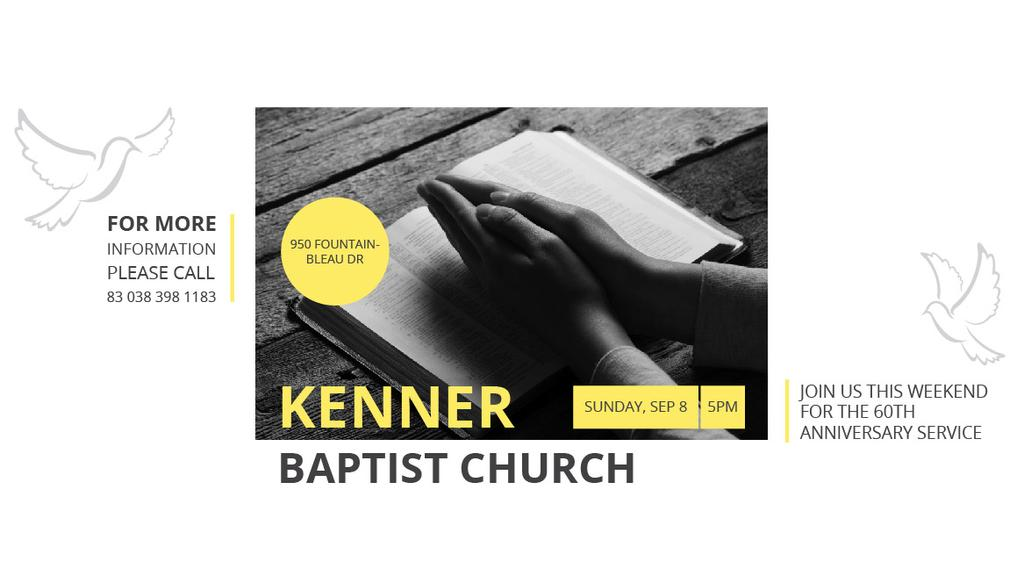 Prayer Invitation Hands on Bible Book — Maak een ontwerp