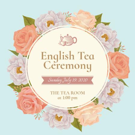 Tea Ceremony invitation in Flowers frame Instagram AD – шаблон для дизайну