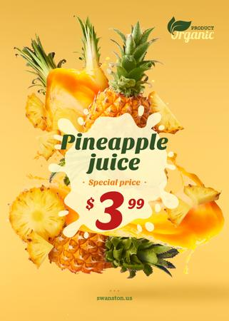 Pineapple Juice Offer Fresh Fruit Pieces Flayer Modelo de Design