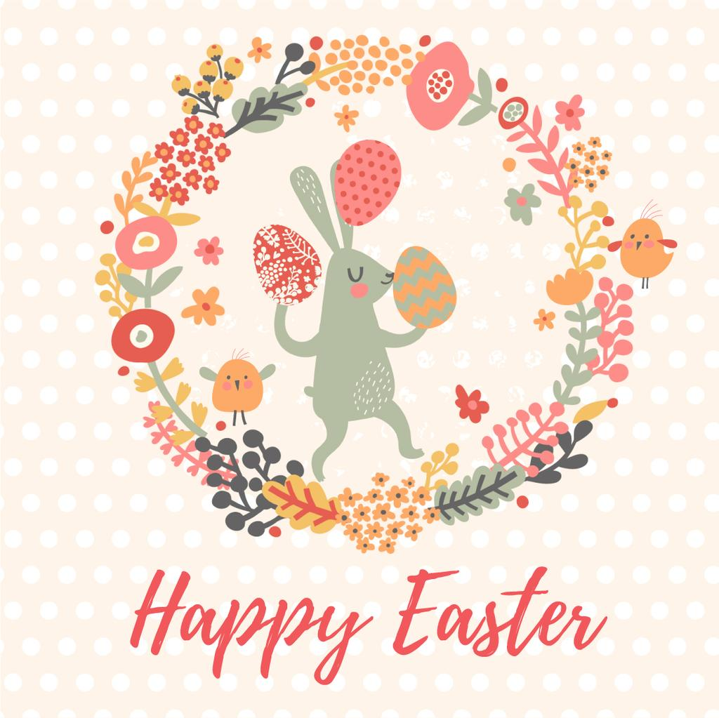 Easter Bunny with Colored Eggs in Flowers Frame  — Create a Design
