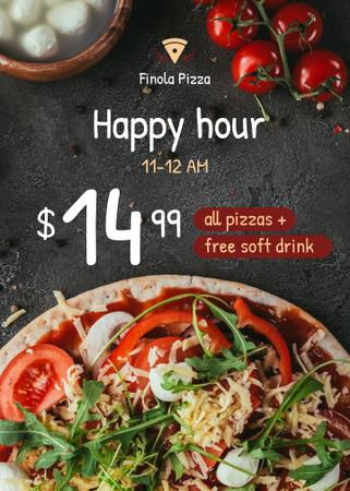 Happy Hour Pizza Offer Flayer Modelo de Design