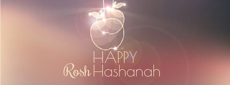 Rosh Hashanah garland with apples Facebook Video cover – шаблон для дизайну