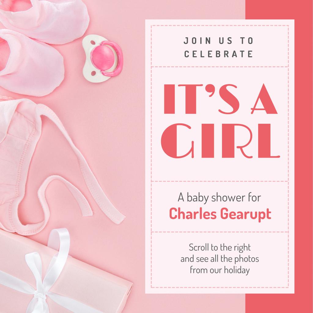 Ontwerpsjabloon van Instagram van Baby Shower Invitation Kids Stuff in Pink