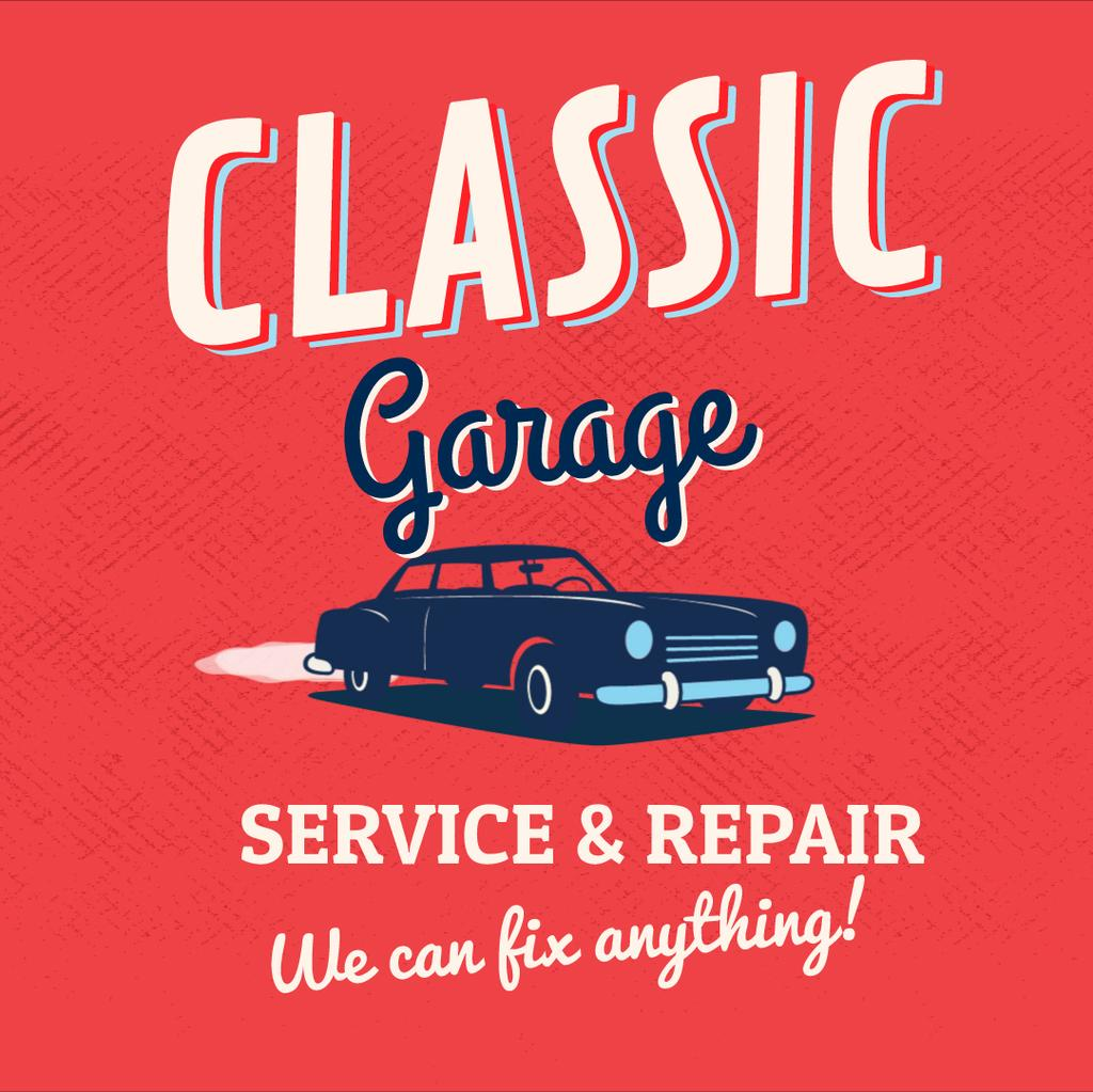 Vintage car on red background — Create a Design
