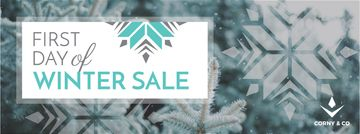 Winter Sale Announcement Tree Covered in Snow | Facebook Cover Template