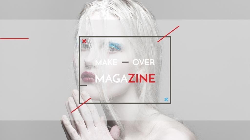 Fashion Magazine Ad with Girl in White Makeup — Créer un visuel