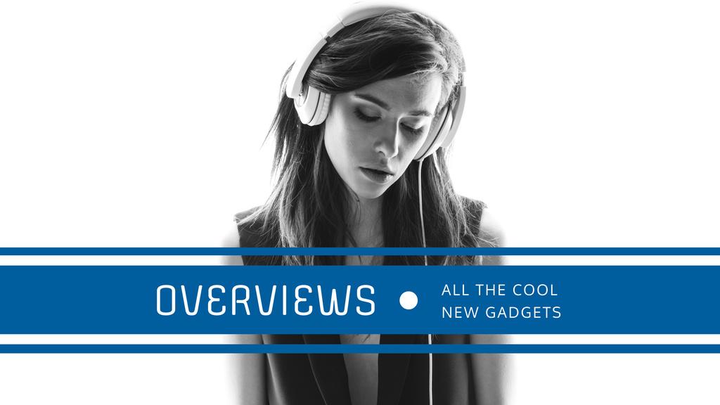 Headphones Ad with Woman Listening Music — ein Design erstellen