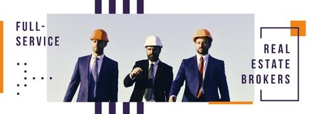 Team of architects on construction site Facebook cover – шаблон для дизайна