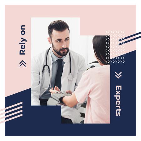 Ontwerpsjabloon van Instagram van Doctor examining patient