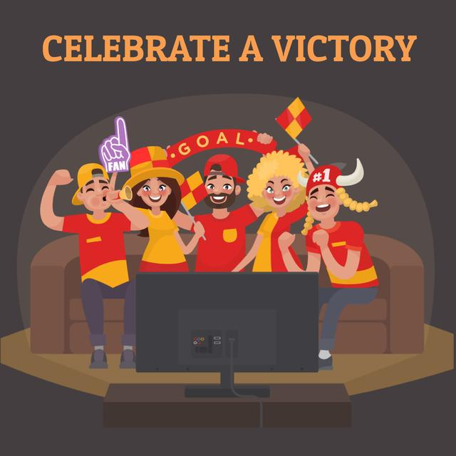 Modèle de visuel Excited Fans watching Football on TV - Animated Post