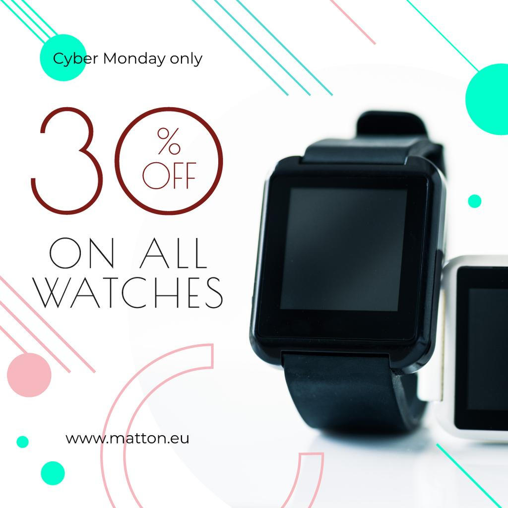 Cyber Monday Sale Smart Watch Device | Instagram Ad Template — Створити дизайн