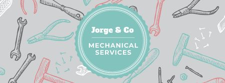 Plantilla de diseño de Mechanical services Ad with Tools pattern Facebook cover