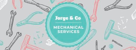 Mechanical services Ad with Tools pattern Facebook coverデザインテンプレート
