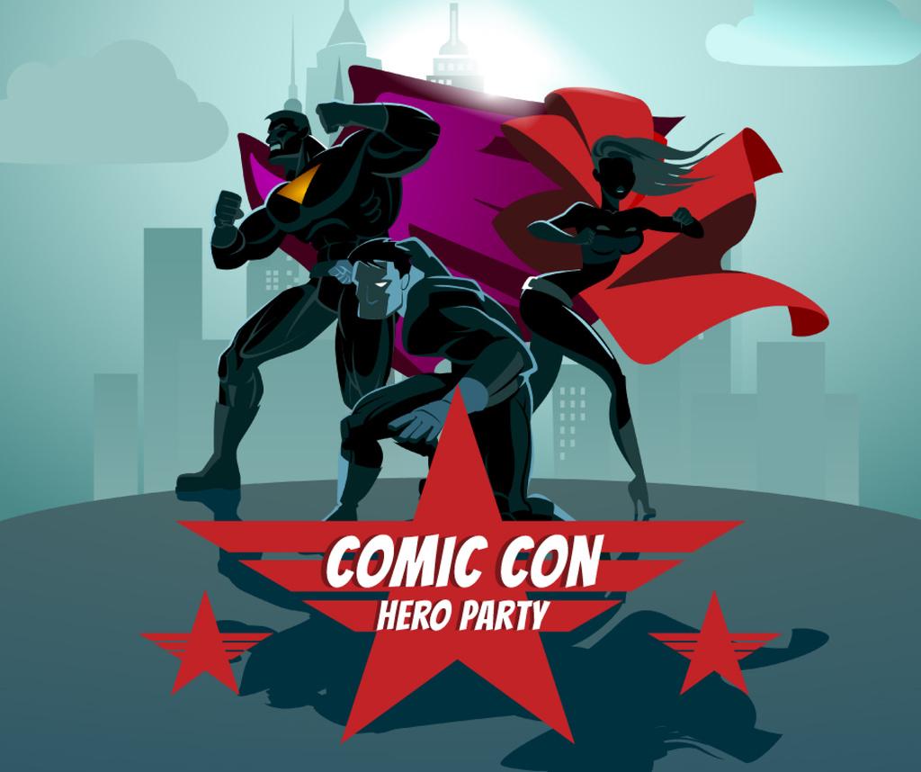 Superheroes at Comic Con Party — Créer un visuel