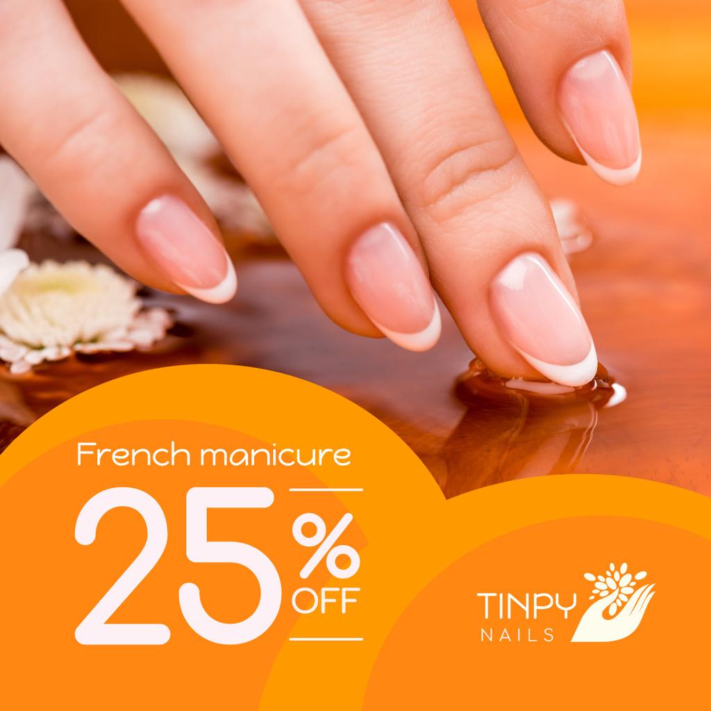 Beauty Salon Ad Manicured Hands in Orange — Maak een ontwerp