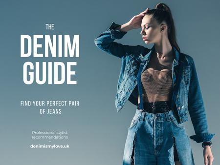 Ontwerpsjabloon van Presentation van The Denim Guide with Stylish Girl
