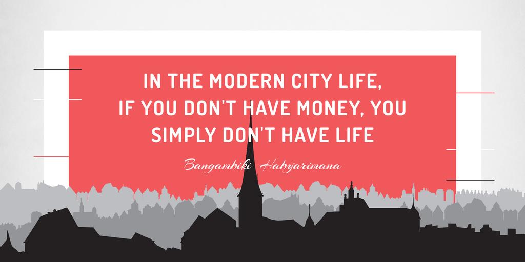 Citation about money in modern city life — Crea un design