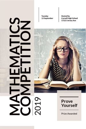 Szablon projektu Mathematics competition announcement with Thoughtful Student Tumblr