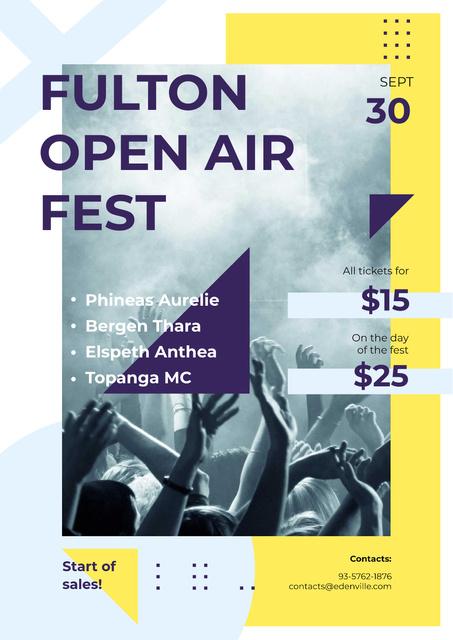 Plantilla de diseño de Live Performance Announcement with Crowd at Concert Poster
