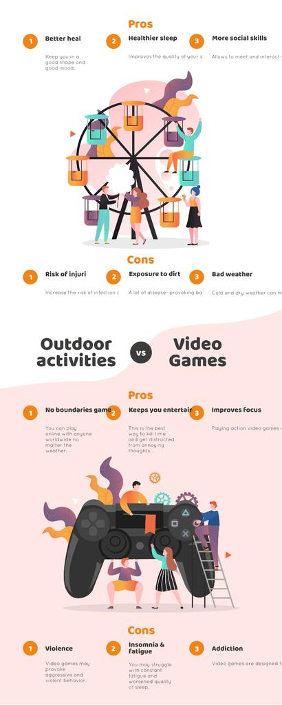 Comparison infographics with Outdoor actiivities and VR —デザインを作成する