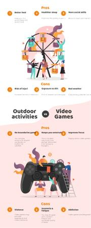 Template di design Comparison infographics with Outdoor actiivities and VR Infographic