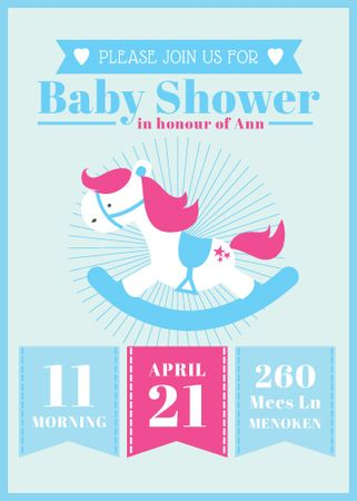 Plantilla de diseño de Rocking horse toy for Baby Shower Invitation