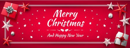 Template di design Merry Christmas Greeting in Red color Facebook cover
