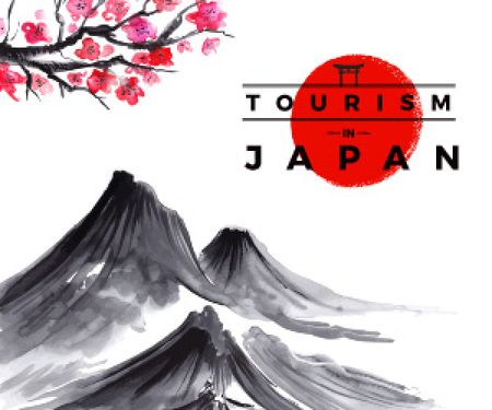 Tourism in Japan white poster Medium Rectangle Modelo de Design