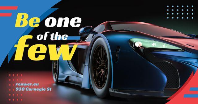Ontwerpsjabloon van Facebook AD van Dark Modern Sports Car