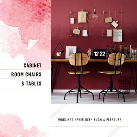 Plantilla de diseño de Furniture Store Ad Working Table with Laptop Instagram AD