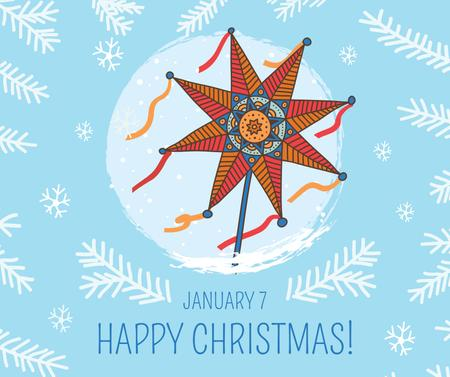 Plantilla de diseño de Happy Christmas greeting with Star Facebook