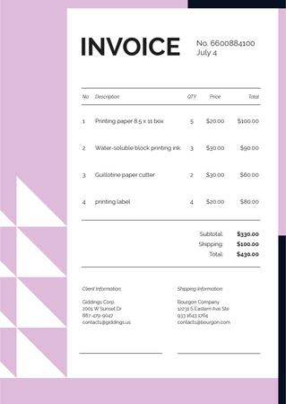 Paper Printing Services on Pink Invoiceデザインテンプレート