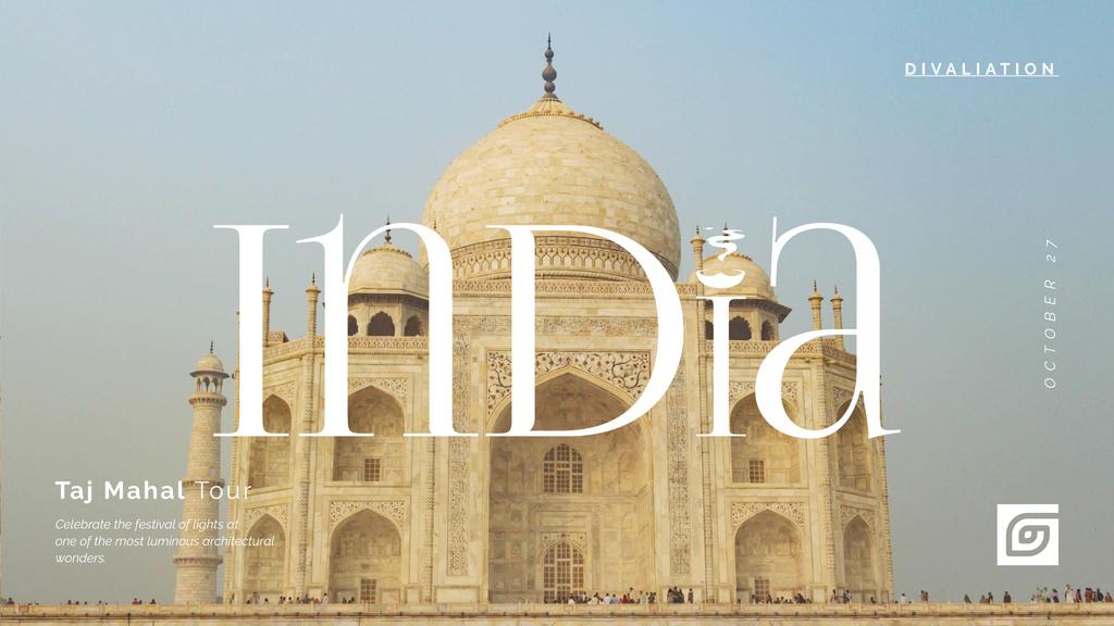 Travelling Tour Ad Taj Mahal Building — Modelo de projeto