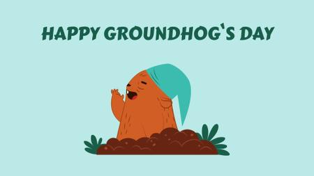 Designvorlage Happy Groundhog Day with funny animal für Full HD video