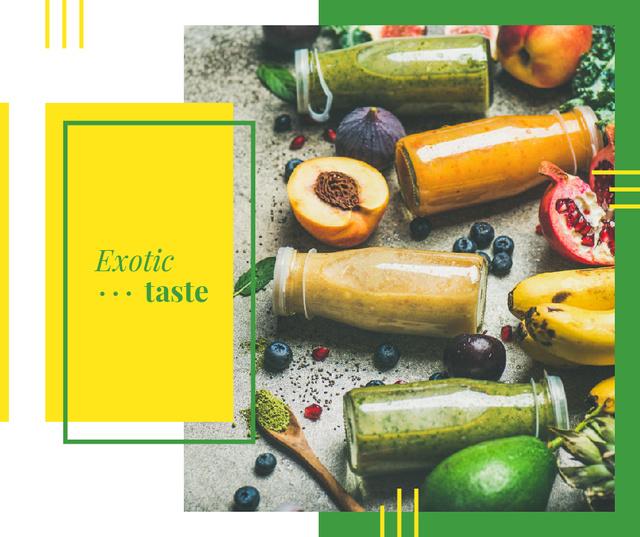 Plantilla de diseño de Bottles with healthy drinks and Fruits Facebook