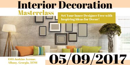 Ontwerpsjabloon van Twitter van Interior decoration masterclass Announcement