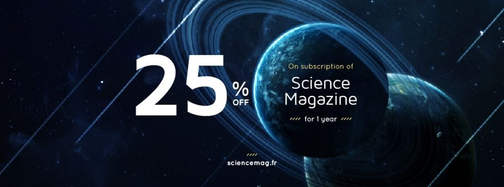 Science Magazine Offer with Planets in Space — Створити дизайн